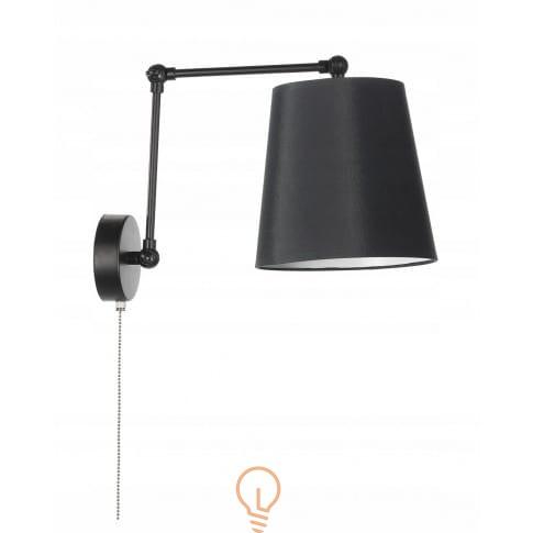 Lampa ścienna Kinkiet Abażur Z Włącznikiem E27 Led Czarna